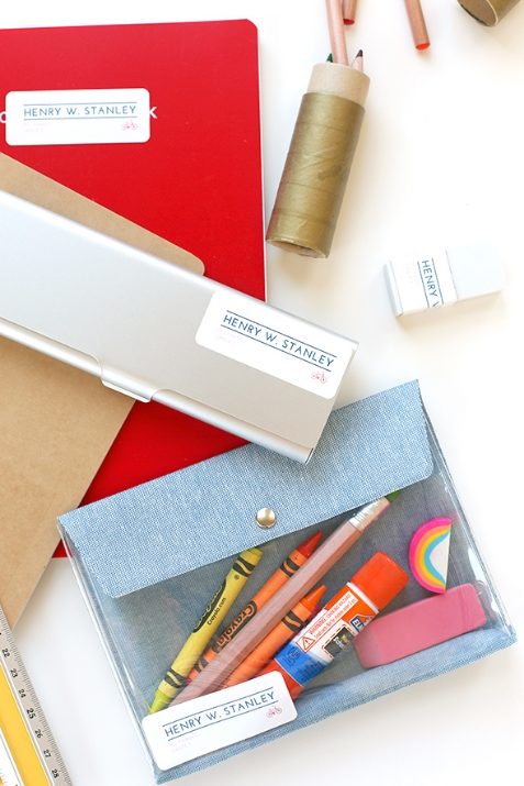 Put your name on it! Label school supplies for the little ones like Say Yes. Image c/o Say Yes.