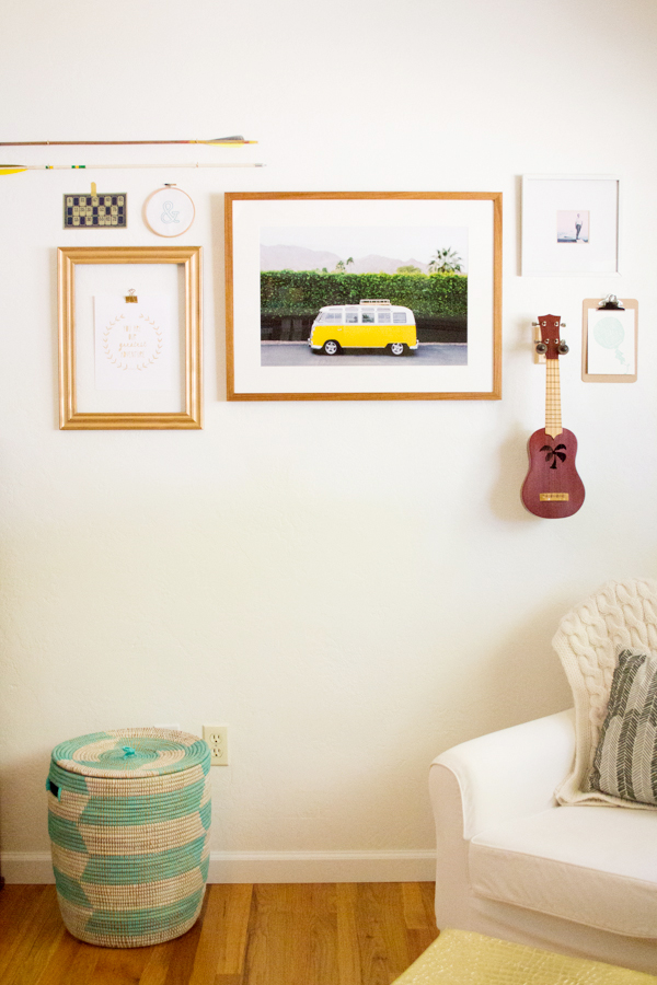Why stick with just photos? Lovely Indeed adds objects into the mix for this fun nursery wall. Image c/o Lovely Indeed.