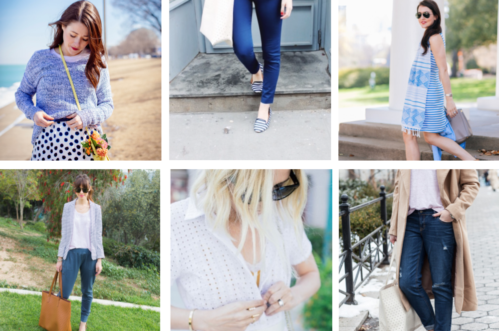 Clockwise from upper left: Sequins & Stripes, Design Darling, Dallas Wardrobe, Bows and Sequins, Damsel in Dior, M Loves M.